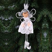 """Новогоднее украшение 11х2х16 см. """"Принцесса"""" из полиэстра серая, новогодняя коллекция"""