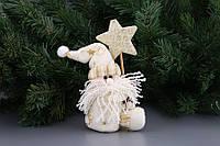 """Новогоднее украшение 8х4х14 см. """"Дед Мороз"""" из полиэстера, бежевое, новогодняя коллекция"""