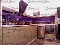 Кухонный фартук с ультрафиолетовой печатью.Ночной Нью-Йорк.Под заказ. Дизайн кухни