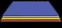 Плоский лист окрашенный в пленке 1,25 х 2 м (0.35 мм толщина)