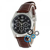 Часы наручные Longines quartz Chronograph Silver/Black