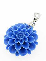 Кулон голубой цветок полимерная глина (012947)