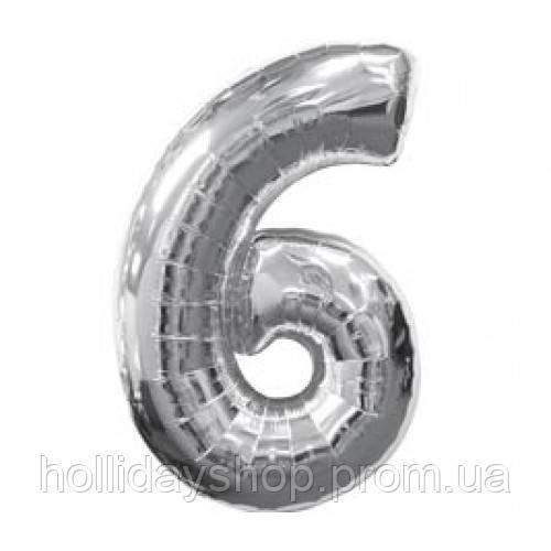 Шар цифра 6 серебро