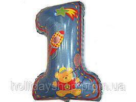Фольгированная цифра 1 детская для мальчика 80 х 54 см, Харьков
