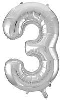 Шар серебро (80 см) цифра 3