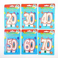 "Свеча в торт на день рождения цифра ""60"""