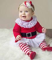 Новогодний костюм для девочек, платье с лосинами, рост 80, 90, 100 см