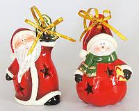 """Новогодняя фигурка с подсвечником """"Санта, Снеговик"""" (11.6см, 2 вида)  NY33-B29"""