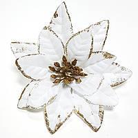 Пуансетия новогодняя белая с блеском