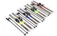 Лыжи беговые детские 90см, дл. палок- 70см, Fiberqlass, крепление В  регулируется