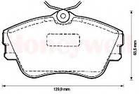 Гальмівні колодки передні без датчика (R15, суцільний диск,129.7x65.2x19mm) VW T4 90-200-015 BSG (Туреччина)
