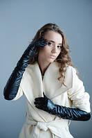Длинные кожаные женские перчатки черного цвета