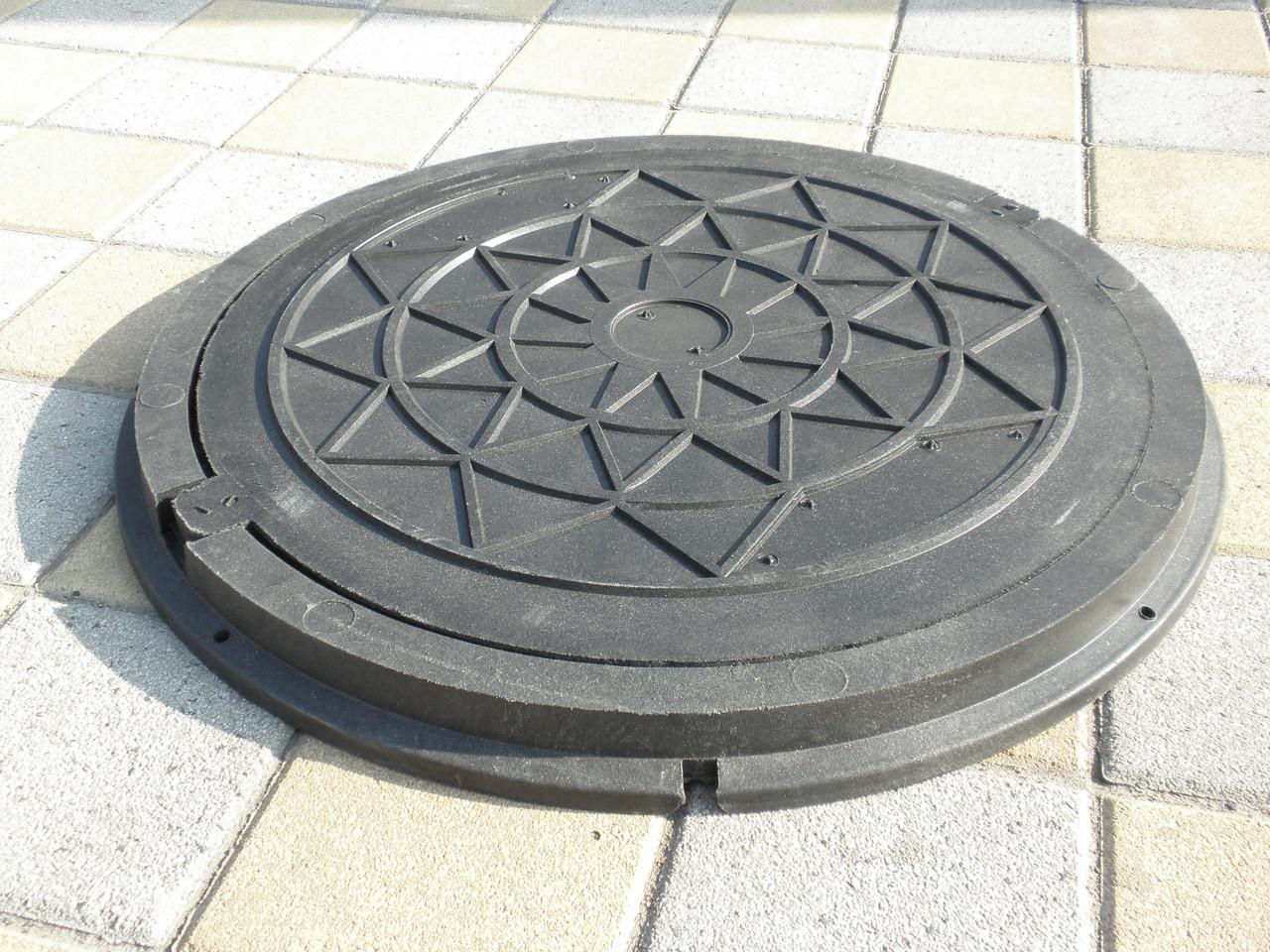 Люк канализационный полимерпесчанный садовый черный