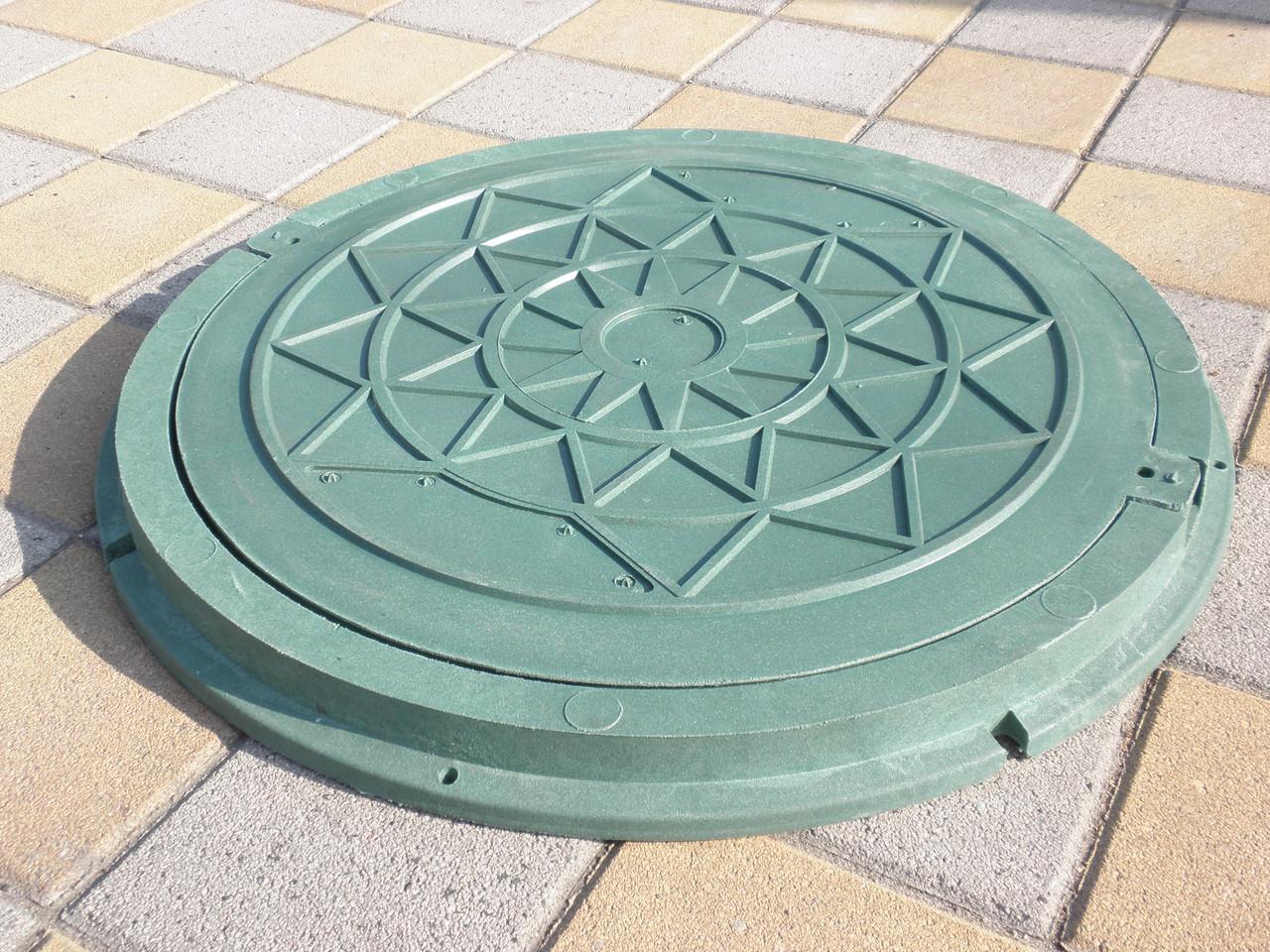 Люк канализационный полимерпесчанный садовый зеленый