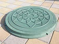 Люк канализационный полимерпесчанный садовый зеленый, фото 1