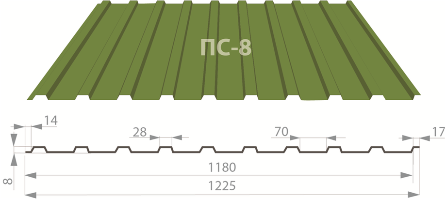 Профнастил ПС-8 цинк 0,35, фото 2