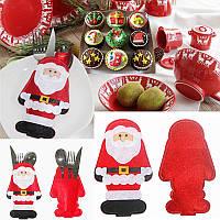 Санта Дед Мороз конверт под столовые приборы (вилка, ложка, нож) новогоднее украшение стола 1 шт
