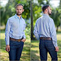 Рубашка мужская белая, в мелкую темно синюю полоску.Длинный рукав,классический силуэт.РазмS-XXL. Davanti.