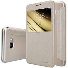 Чехол книжка Nillkin Sparkle Series для Samsung Galaxy C7 золотой