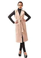 Стильный удлиненный женский жилет с карманами