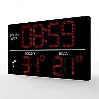 Светодиодное табло для бассейна 1000х600 (часы-термометр)