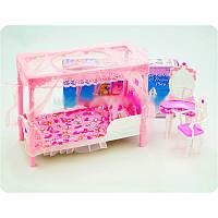 Игрушечная мебель для кукол Спальня 2614: кровать с балдахином, трюмо, стул, коробка 33,5х17х5 см