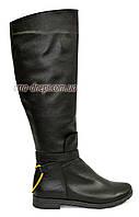 Демисезонные женские черные сапоги на байке, фото 1