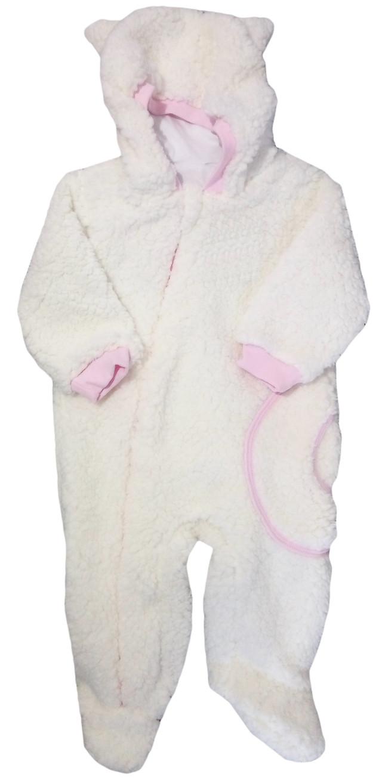 Махровый комбинезон-человечек с капюшоном с ушками, белый с подкладкой, молния, девочка, 68-74, Украина, опт