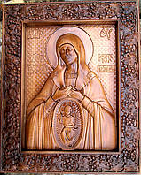 Икона Богородицы В родах помощница резная из бука