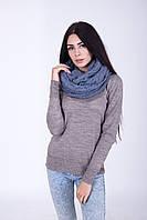 Вязанный шарф-хомут цвета джинс