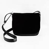 Замшевая сумочка М52-63/замш через плечо среднего размера черная натуральная замша