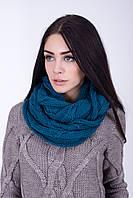 Вязанный шарф-хомут цвета морской волны