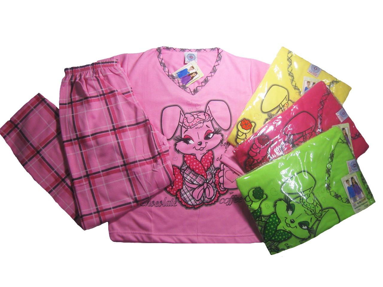 Пижама байковая (трикотажная) с начёсом для девочек, размеры 98/104-134/140, арт. 985