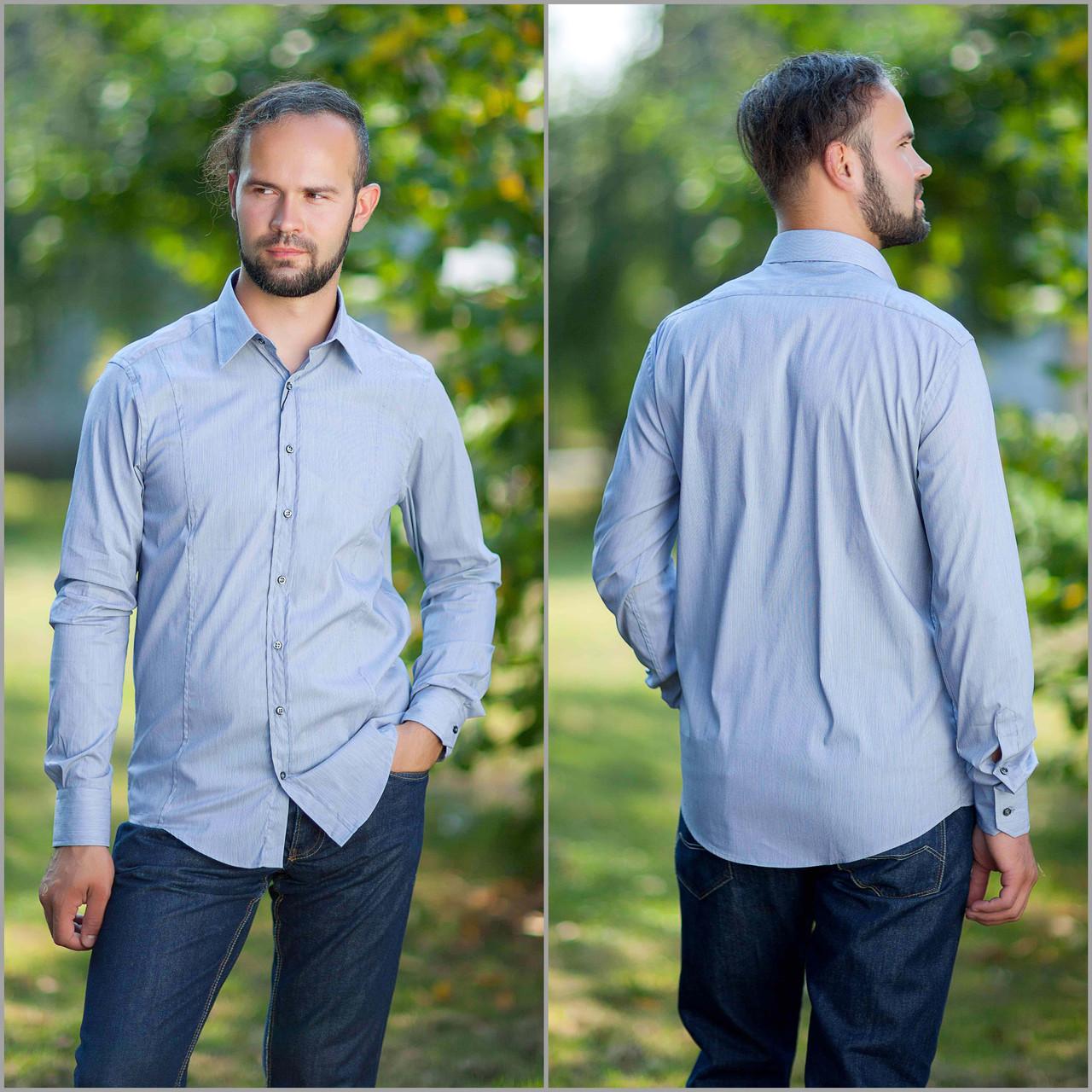 3de231bcc52 Рубашка мужская в тонкую серую полоску.Длинный рукав