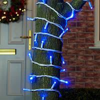 Уличная гирлянда Светодиодная Нить, белый провод, цвет: синий 10 м, мерцает IP-44
