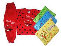 Пижама трикотажная с начёсом для девочек, размеры 98/104-134/140 арт. 1/986