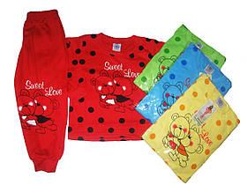 Пижама трикотажная с начёсом для девочек, размеры 98/104-134/140 арт. 1/984