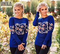 Синий свитерок с цветочным принтом. Турция. Арт-9028/9