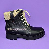 Женские зимние ботинки на шнуровке из натуральной кожи флотар, фото 1
