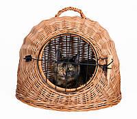 Дом - переноска Trixie для котов с решеткой плетеный, 45 см, фото 1