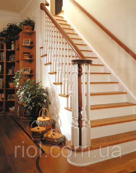 Лестница одномаршевая. С дерева, МДФ, искуственого камня. Под заказ