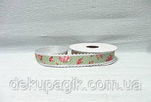 Лента тканевая, Зеленая с цветами и кружевом, 2,5см