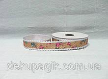 Лента тканевая, Коричневая с цветами и кружевом, 2,5см