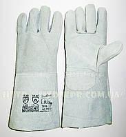 Перчатки сварщика с крагами со спилка (серые)