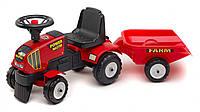 Трактор каталка POWER MASTER с прицепом Falk красный
