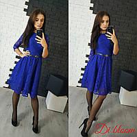 Женское стильное гипюровое платье с поясом
