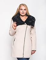 Зимнее пальто больших размеров с мехом №42/1 в расцветках р. 50-60