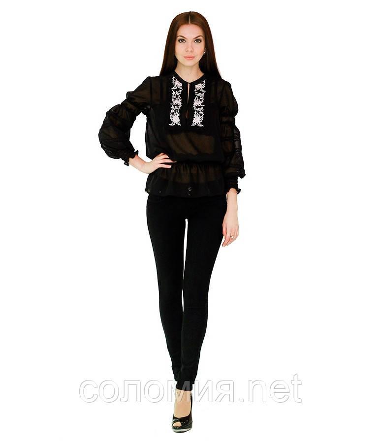 Рубашка вышитая женская шифоновая с рукавом фонарик черная