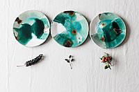 Тарелка  Quiet_form ручной работы *Розливи* 23,5 см керамика