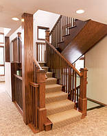Лестница двухмаршевая. С дерева, МДФ, искуственого камня. Под заказ